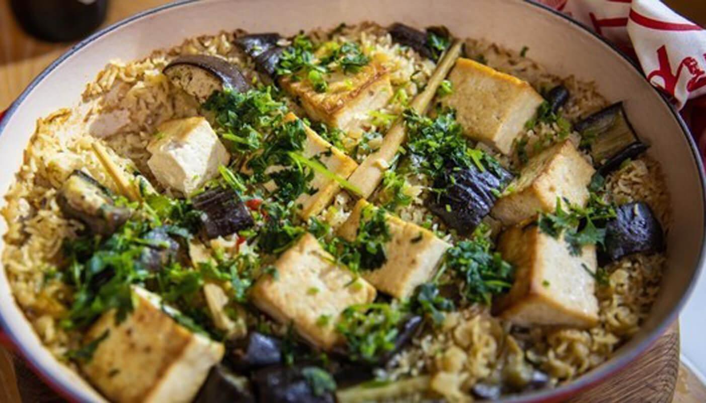 Thai rice with tofu and aubergine