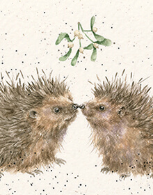 Wrendale Hog and Kisses at Christmas Card
